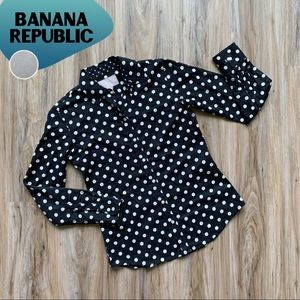 BANANA REPUBLIC Cotton Lawn Polka Dot Button Shirt